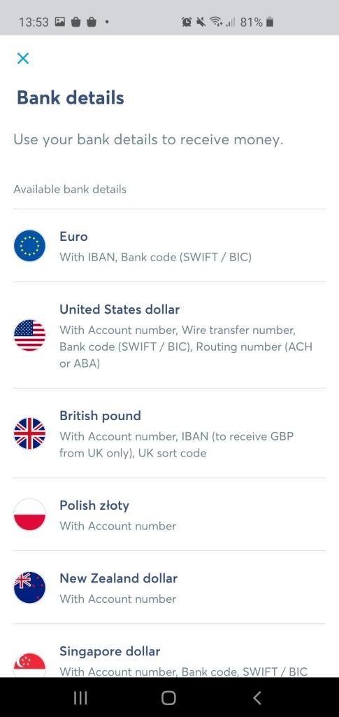 Transferwise app Borderless