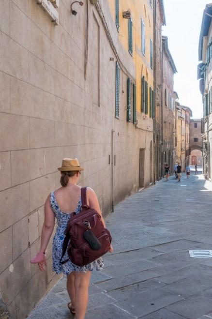 Jessica in Siena walking down the street