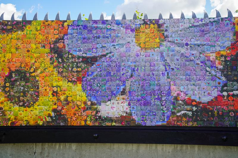 Flower art museum wall close-up