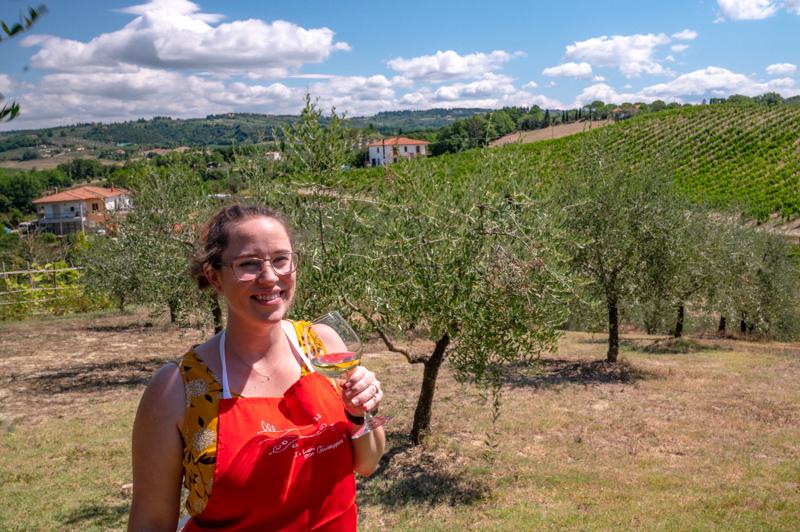 Jessica with wine