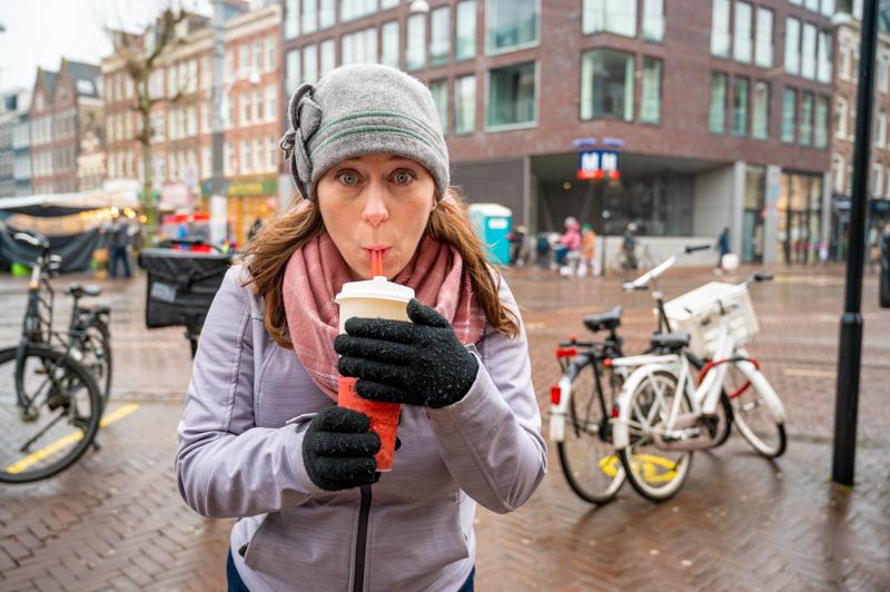 Jessica drinking bubble tea by de Pijp metro in Amsterdam