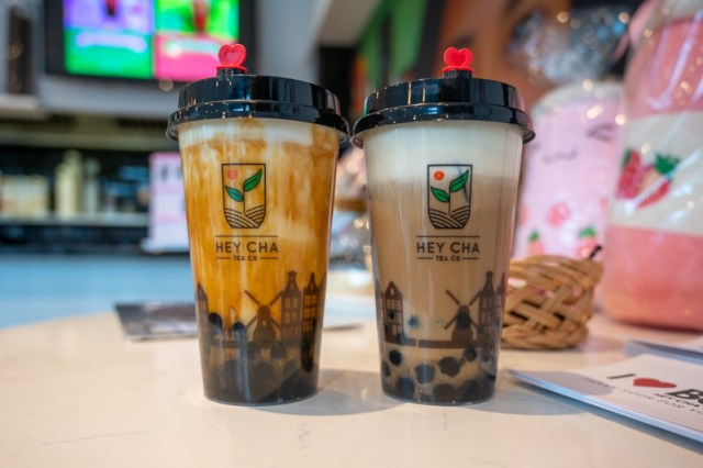 Two bubble teas from Hey Cha
