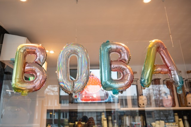 BOBA spelled out in balloons