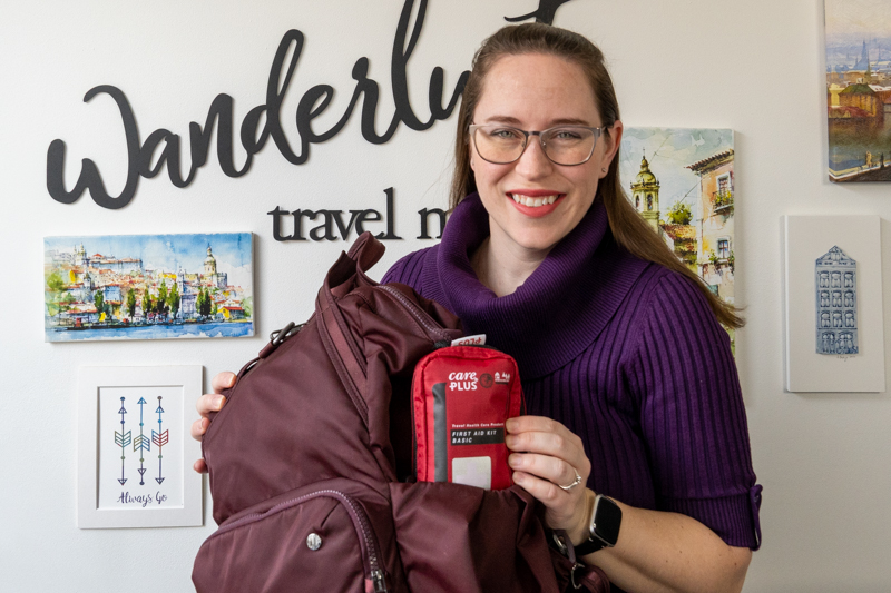 Jessica with first aid travel kit