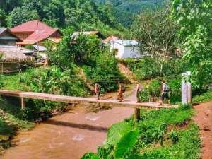 Crossing river in Luang Nam Tha, Laos
