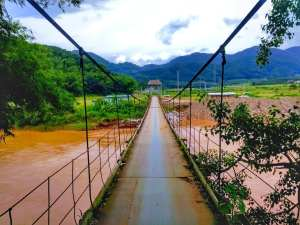 Rope bridge in Man Long Dai Village (曼龙代 - Man Long Dai). Mengla county