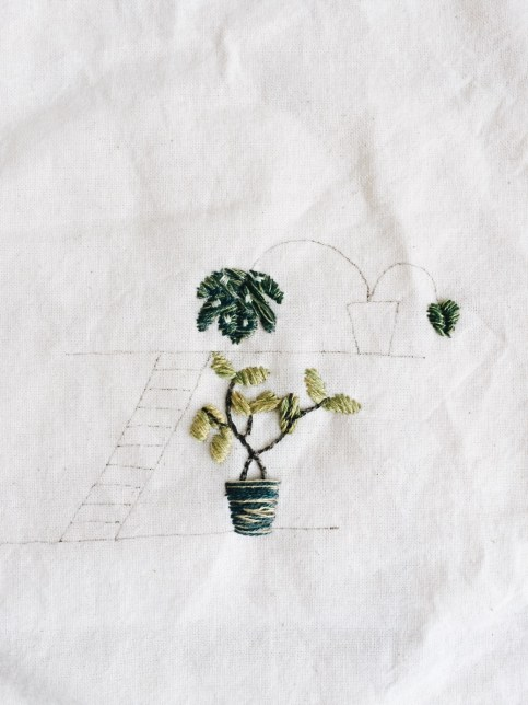 the embroidery of houseplants