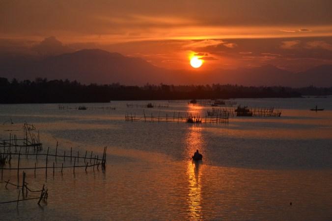Sunset on Thu Bon river, Hoi An, Vietnam