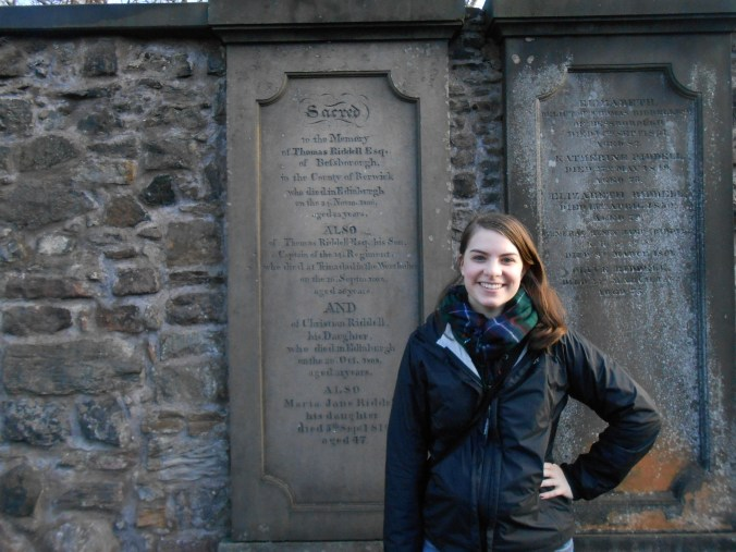 "Thanks to the fellow American I hung out with in Edinburgh who wandered around this graveyard with me and took this picture with the grave of ""Tom Riddell"""