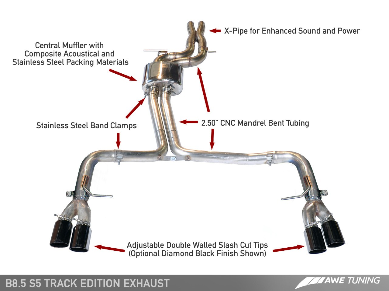 awe track edition exhaust and downpipe