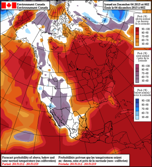 NAEFS 8-14 Day Temperature Anomaly Forecast valid December 12-19, 2015