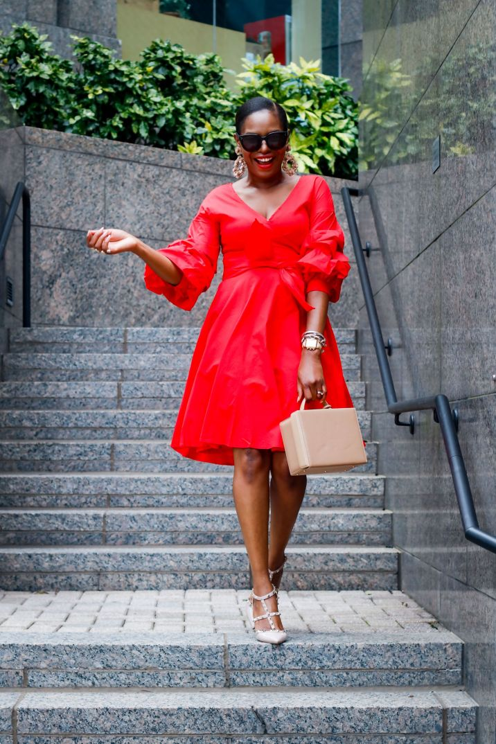 Fashion blogger wearing red wrap dress 2