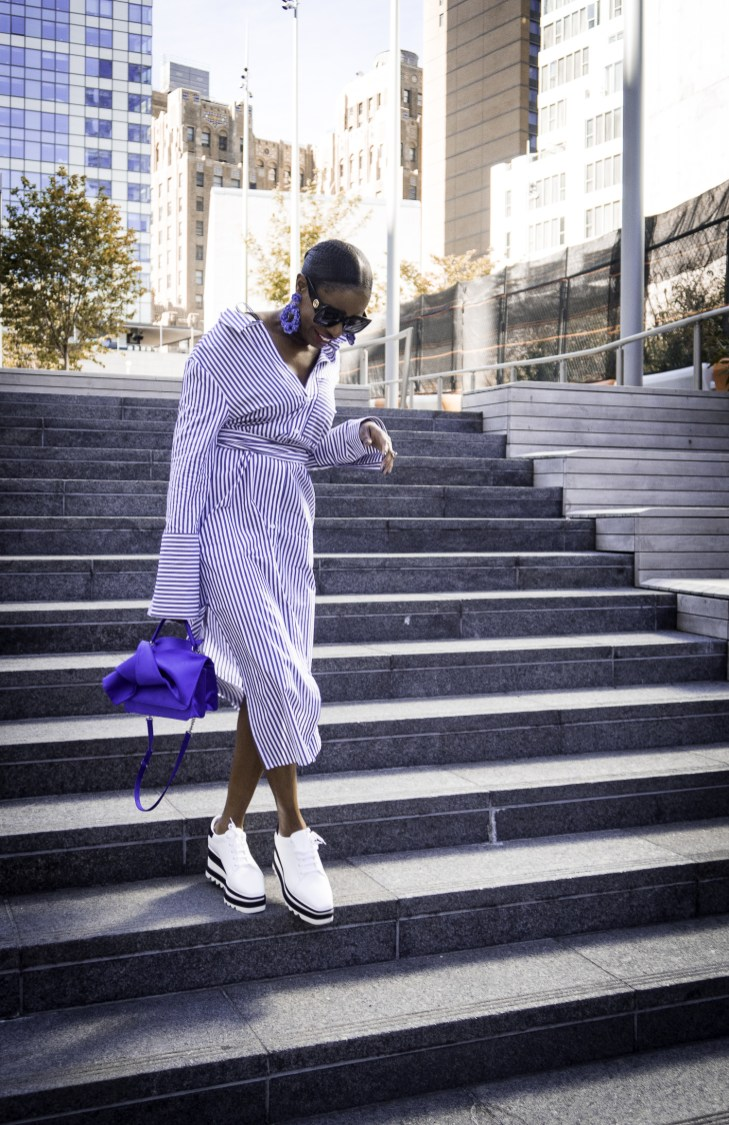 Platform sneakers and strip topshop midi dress NYFW | Awed by Monica | Atlanta Lifestyle & Fashion Blog-2