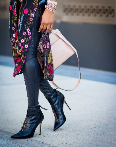 floral midi dress worn with leather leggings - holiday fashion -5