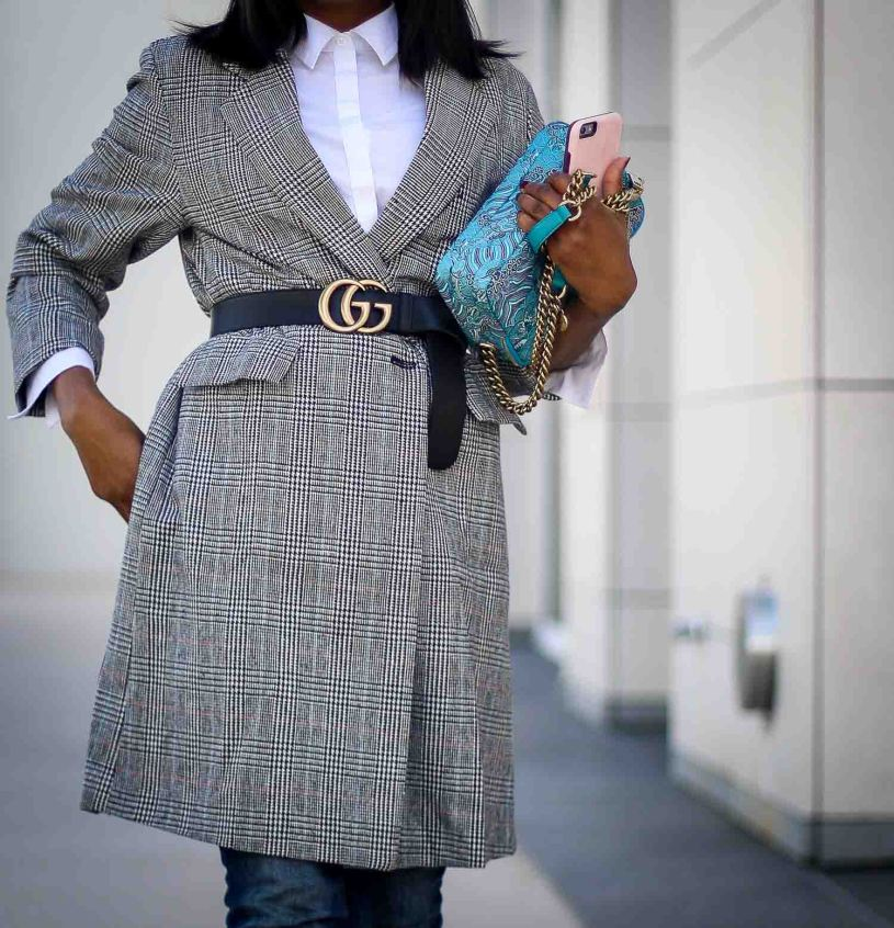 Plaid oversized jacket worn with skinny jeans and white booties worn by Atlanta fashion blogger-15