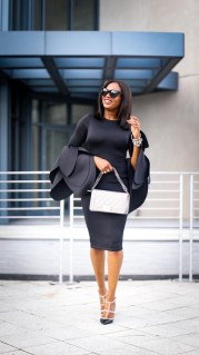 black scuba midi dress with bell sleeves wore by fashion blogger Atlanta blogger-6