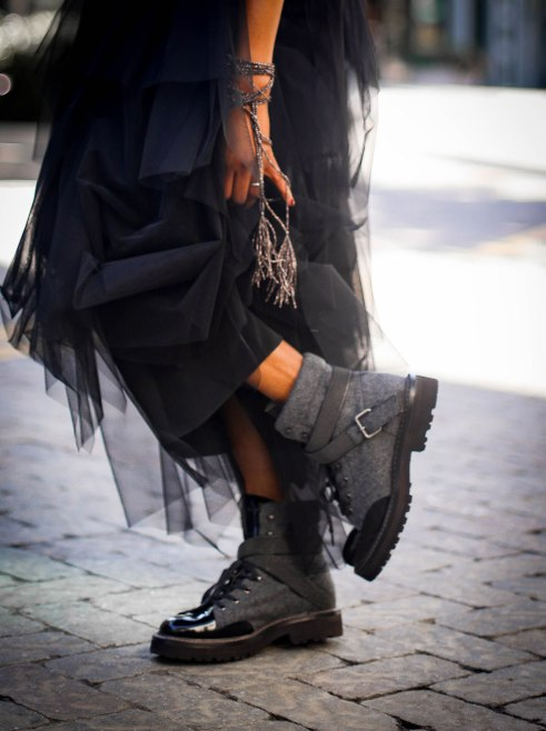 tulle brunello cucinelli dress for the holidays worn by Fashion blogger #combatboots #cucinelliboots-17