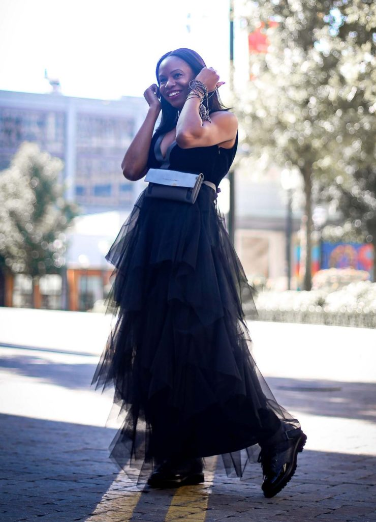 tulle brunello cucinelli dress for the holidays worn by Fashion blogger #combatboots #cucinelliboots-4