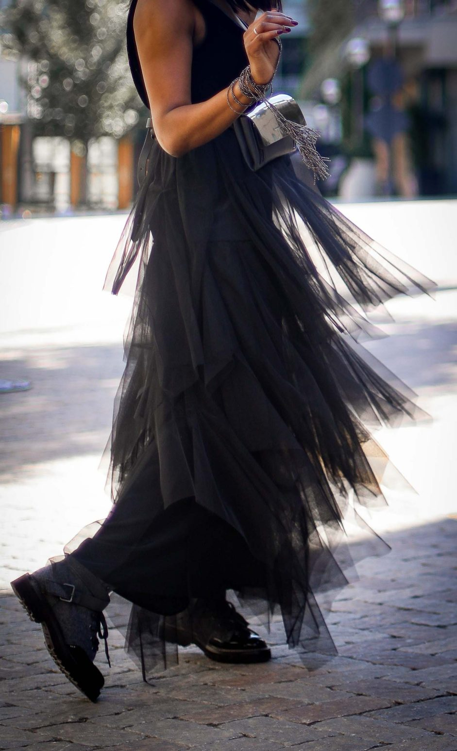 tulle brunello cucinelli dress for the holidays worn by Fashion blogger #combatboots #cucinelliboots-8