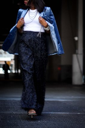velvet jacket and wide leg pants for the holidays by brunello cucinelli worn by Atlanta blogger-17