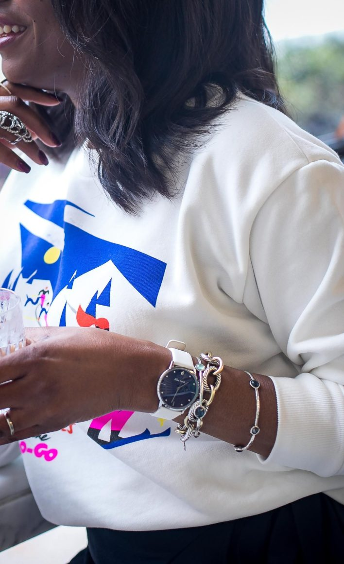 Atlanta fashion blogger wearing Mon Amie watch for the holidays J.crew sweatshirt and stuart weitizman booties -11