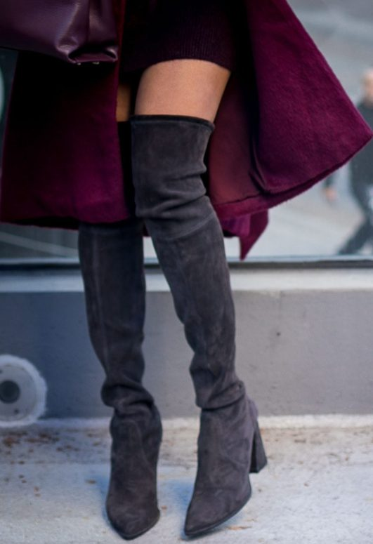 Atlanta fashion blogger wearing a burgundy coat an HM turtleneck burgundy sweater and OTK stuart weitizman booties -9