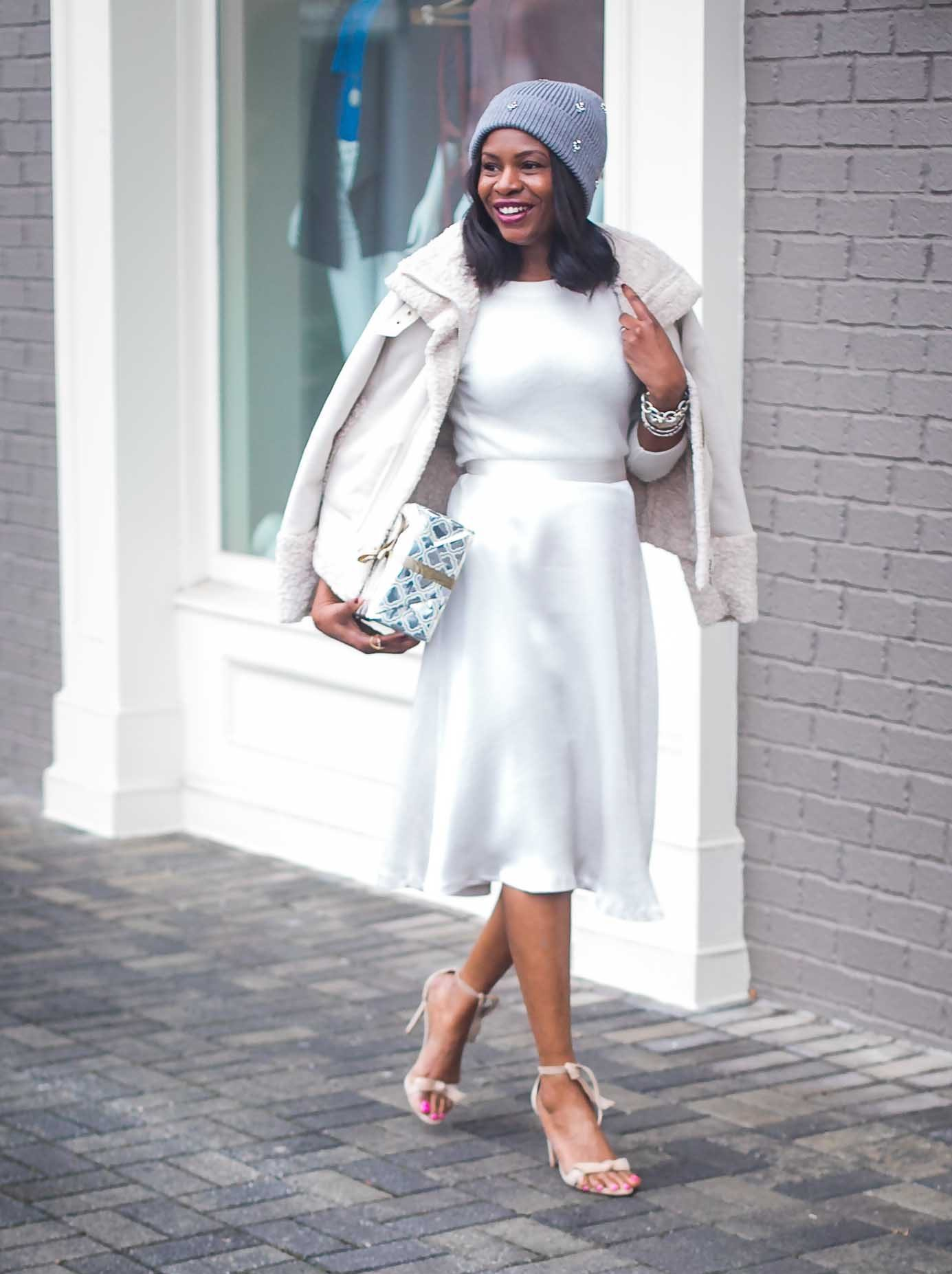 How to style an all white outfit for the winter Atlanta fashion blogger wearing white coat. Holiday outfit -6