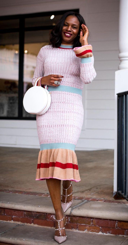 Midi sweater dress worn with valentino rockstud shoes and mansur gavriel circle bag by Atlanta fashion blogger-10