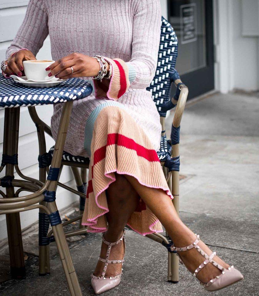 Midi sweater dress worn with valentino rockstud shoes and mansur gavriel circle bag by Atlanta fashion blogger-18