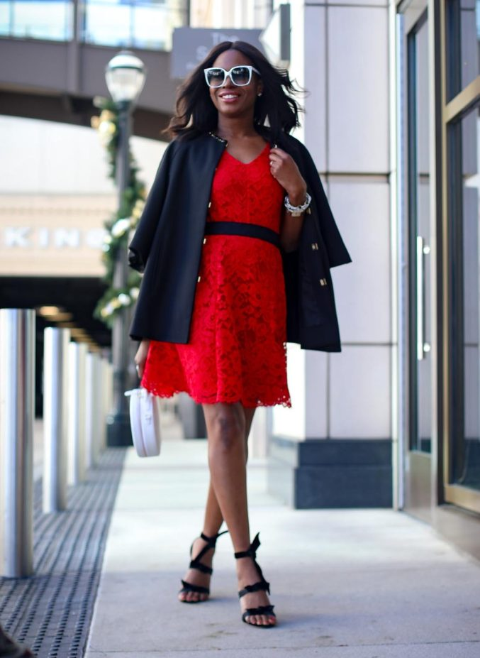 Red Lace dress worn with black cape coat for the holidays outfit by Draper James by Reese Withersppoon-2