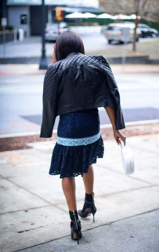blue lace midi dress by Draper James. Dress worn with a biker jacket and booties by Atlanta fashion blogger -13