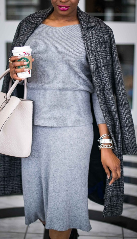 Atlanta blogger wearing grey knit skirt set and fabric boots with henri bendel bag and plaid Abercrombie plaid coat-2