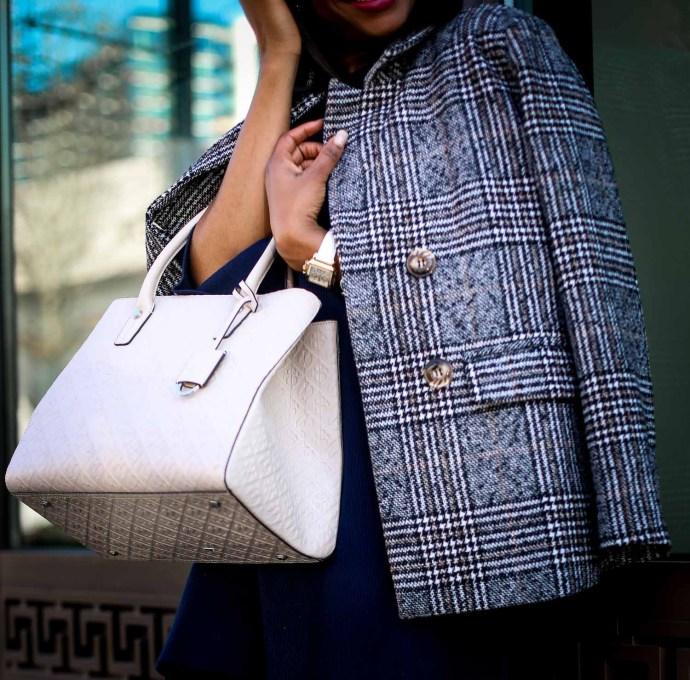 Atlanta fashion blogger wearing a navy knit bell-sleeve dress, stuart weitzman otk boots, plaid double-breast coat, henri bendel bag, and celine sunglasses-7