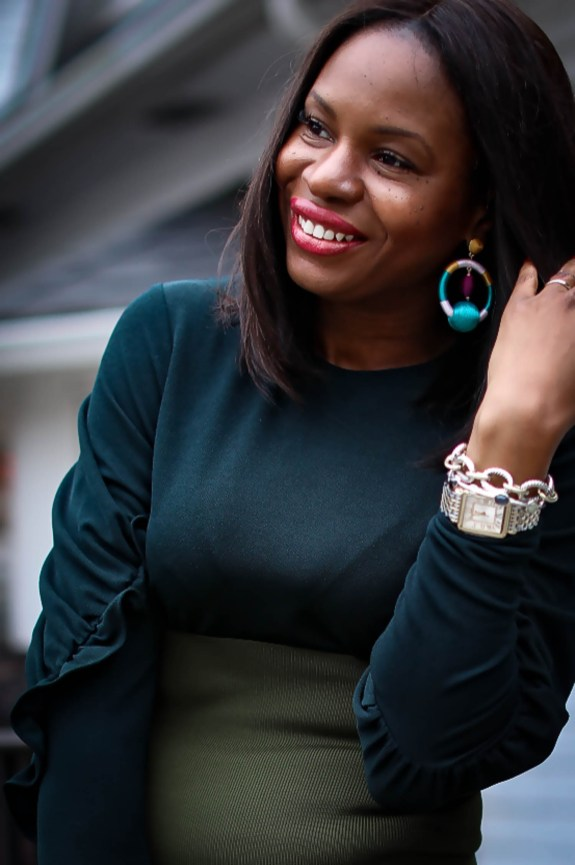 Green tibi midi dress worn by Atlanta fashion blogger. What to wear to an Atlanta coffee shop-19
