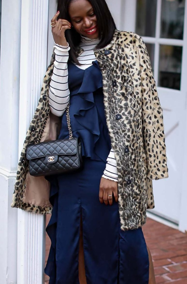 slip dress worn with a j.crew stripe turtle neck top, a leopard coat and black booties by Atlanta fashion and lifestyle blogger -12
