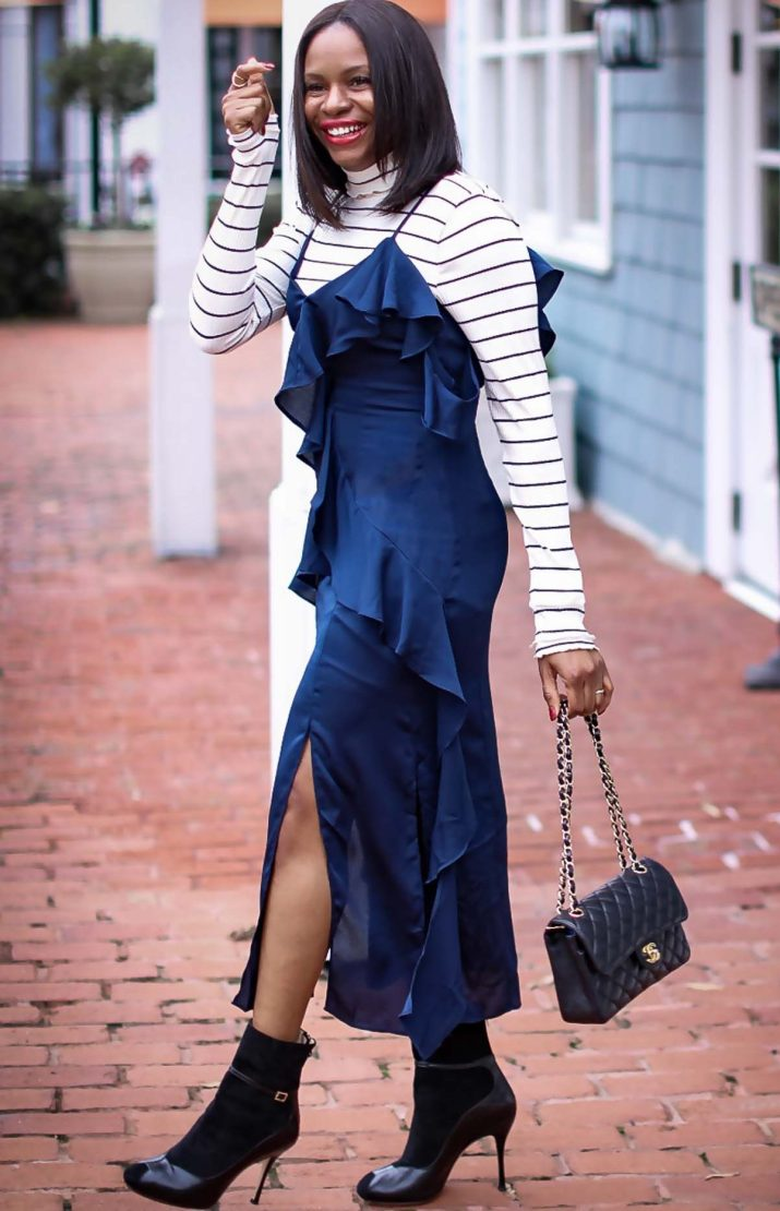 slip dress worn with a j.crew stripe turtle neck top, a leopard coat and black booties by Atlanta fashion and lifestyle blogger -21