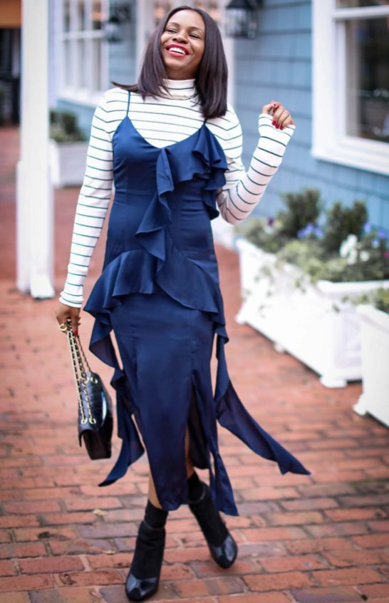 slip dress worn with a j.crew stripe turtle neck top, a leopard coat and black booties by Atlanta fashion and lifestyle blogger -25