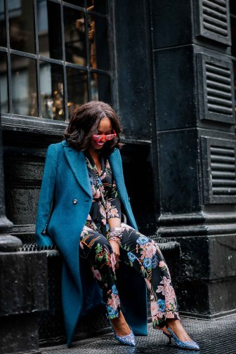 Fashion blogger wearing floral suit during nyfw. How to wear a power suit-13