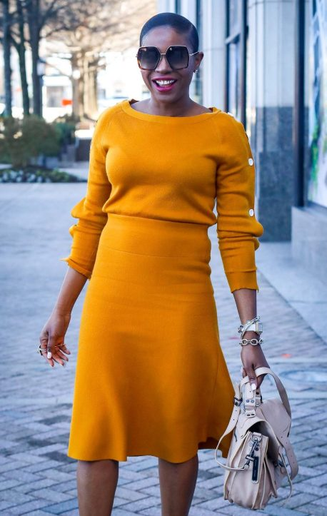 Yellow knit set worn with brown booties and proenza schouler PS1 bag and gucci sunglasses. worn by Atlanta fashion and lifestyle blogger-2