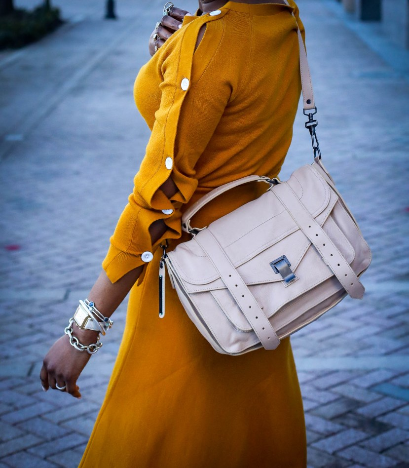 Yellow knit set worn with brown booties and proenza schouler PS1 bag and gucci sunglasses. worn by Atlanta fashion and lifestyle blogger-4