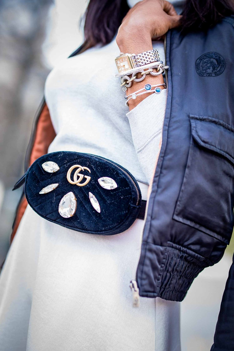 winter monochromatic winter outfit featuring gucci sunglasses, gucci booties, and gucci waist bag-5