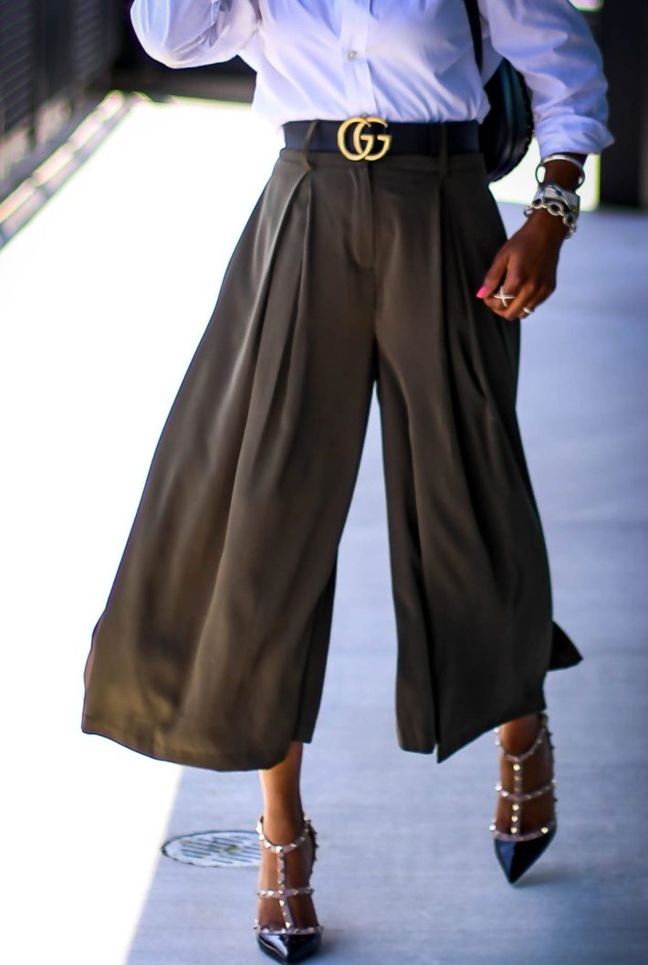 Atlanta fashion blogger wearing Gabrielle union for New York and Compnay spring green culottes, a white mens shirt, Henri Bendel backpack, valentino rockstud pumps and michele watch-16