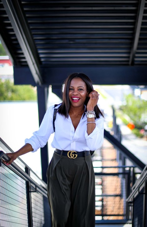 Atlanta fashion blogger wearing Gabrielle union for New York and Compnay spring green culottes, a white mens shirt, Henri Bendel backpack, valentino rockstud pumps and michele watch-4