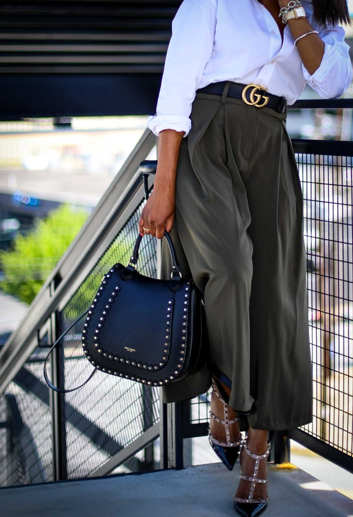 Atlanta fashion blogger wearing Gabrielle union for New York and Compnay spring green culottes, a white mens shirt, Henri Bendel backpack, valentino rockstud pumps and michele watch-6