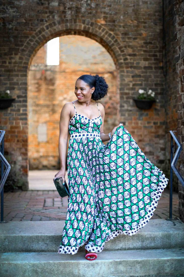 Atlanta fashion blogger wearing an outfit styled by the Trunk Club a Nordstrom Company. Dress worn with Rebecca Minkoff red and pink sandals and cult Gaia ark bag-4