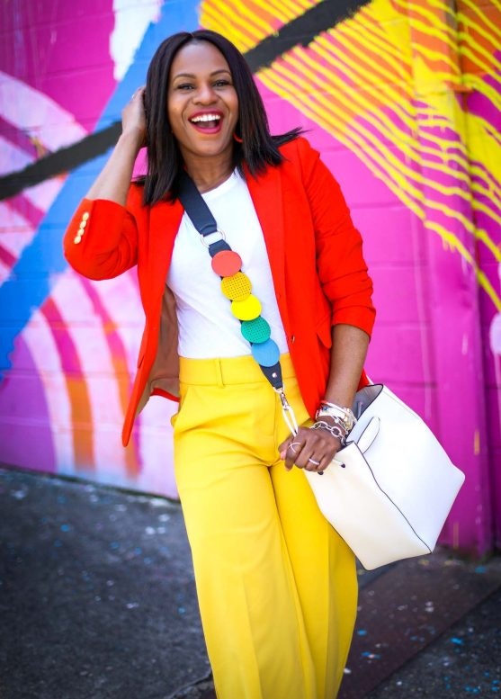 Atlanta fashion blogger wearing yellow pants, orange jcrew blazer, white vince t-shirt, henri bendel earrings and henri bendel bag to create the perfect spring outfit-17
