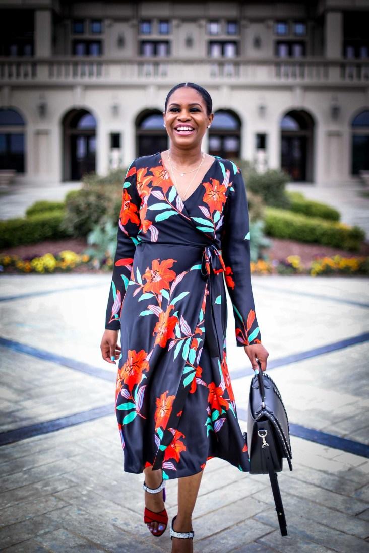 Atlanta fashion and lifestyle blogger wearing DVF wrap dress. Wrap dress featuring floral silk print. Also wearing miu miu platform sandals and henri bendel lux bag-11
