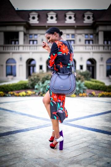 Atlanta fashion and lifestyle blogger wearing DVF wrap dress. Wrap dress featuring floral silk print. Also wearing miu miu platform sandals and henri bendel lux bag-13