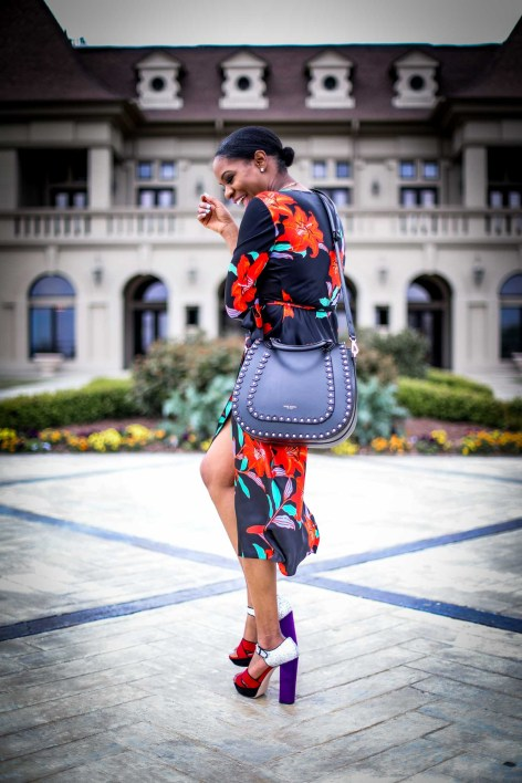 Atlanta fashion and lifestyle blogger wearing DVF wrap dress. Wrap dress featuring floral silk print. Also wearing miu miu platform sandals and henri bendel lux bag-13