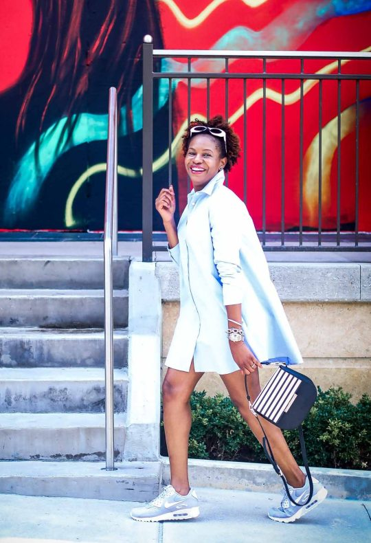 Atlanta fashion blogger wearing the Kate Spade Byride bag featuring the red and stripe flap, shirt dress and nike airmax-5
